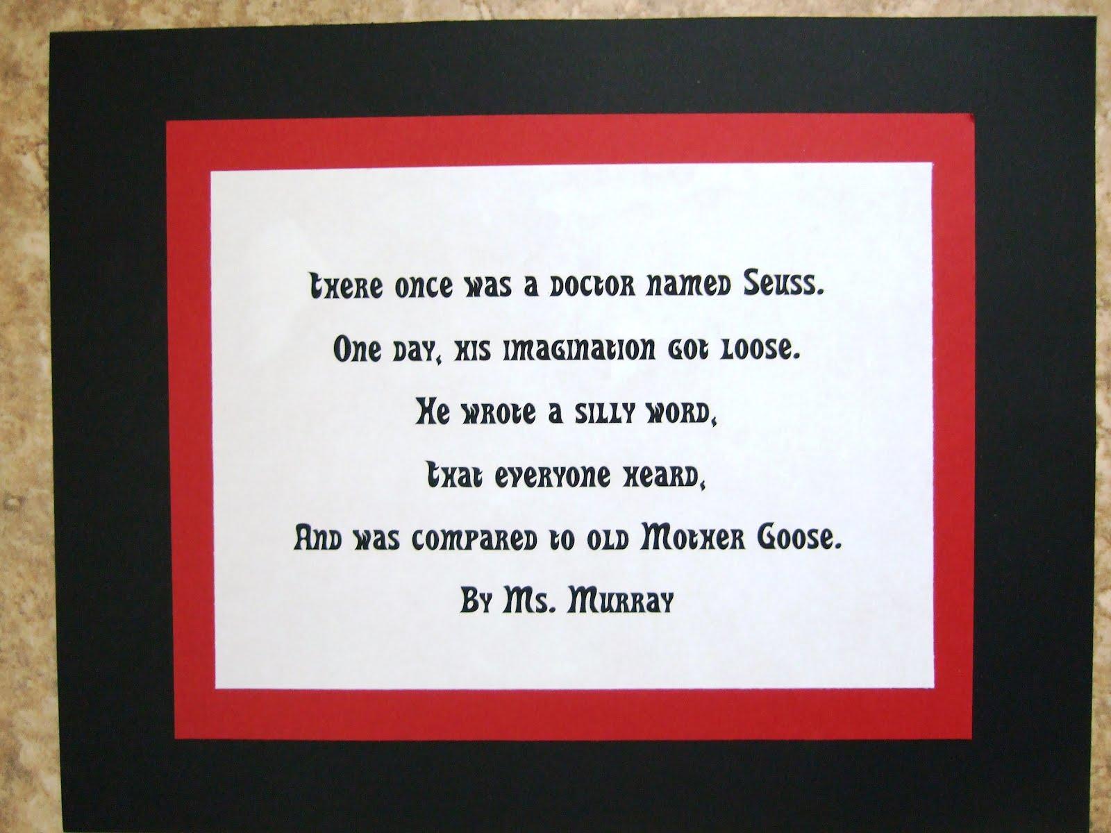 Dr Seuss Limerick