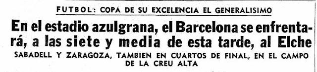 Memoria histórica. El F.C. Barcelona deberá suprimir todos los trofeos de Copa del Generalísimo que ostentan en su vitrina. La Vanguardia, 8 de mayo de 1966