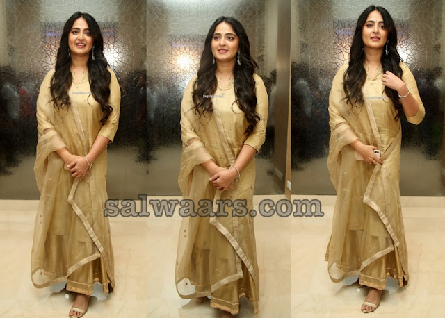 Anushka Shetty in Gold Salwar