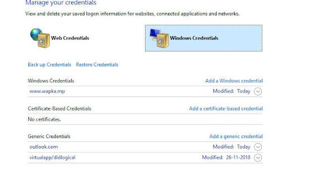 Manage windows credentials