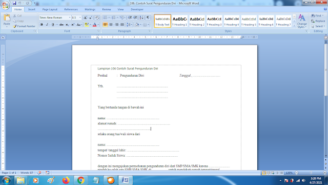 Contoh Format Surat Pengunduran Diri Kerja Yang Baik dan Sopan doc