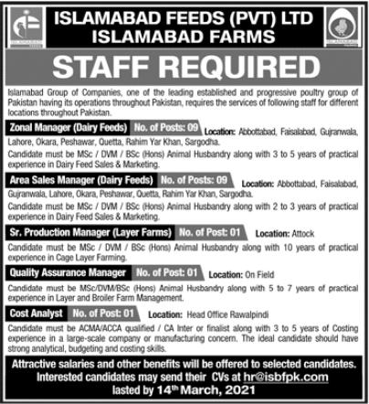 Islamabad Feeds Pvt Limited Jobs 2021