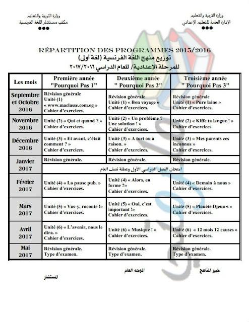 توزيع منهج اللغة الفرنسية للمرحلة الإعدادية 2017