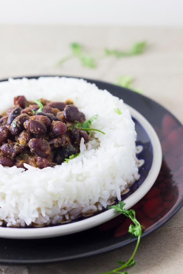 red kidney beans masala gravy punjabi vegan rice sabzi
