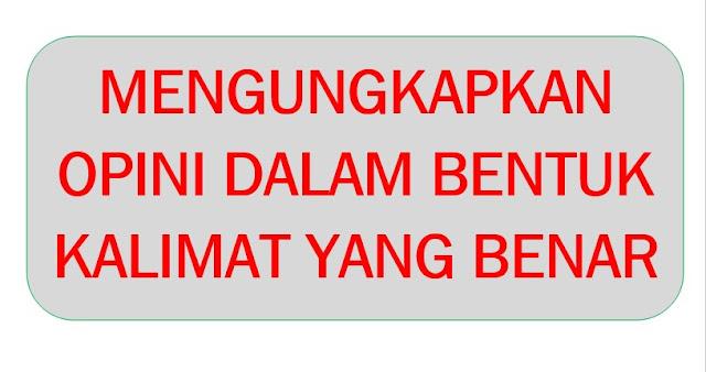 Materi Bahasa Indonesia Mengungkapkan Opini dalam Bentuk kalimat yang Benar