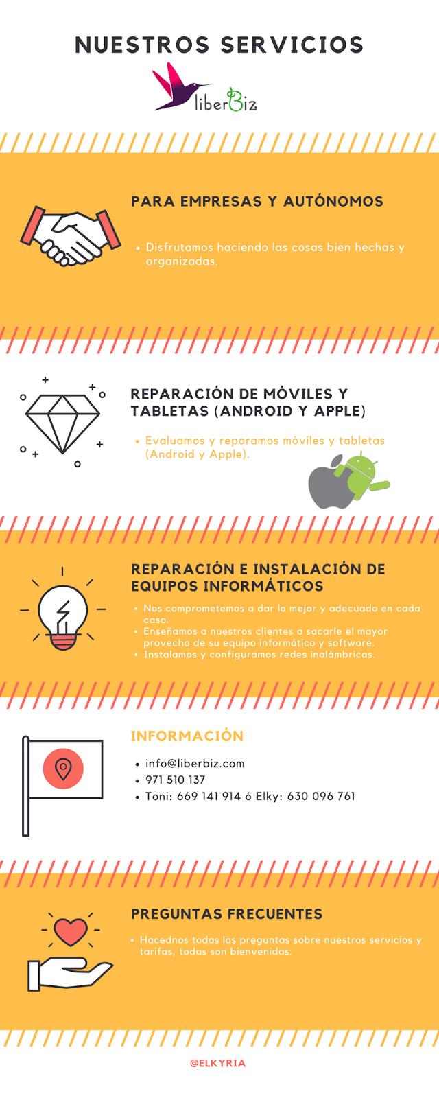 Reparación de móviles y tabletas Android y Apple, ordenadores, instalación de redes, servicios de imágen y diseño. Teléfono e información del servicio de Liberbiz