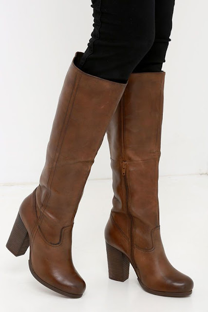 knee length tan boots for women