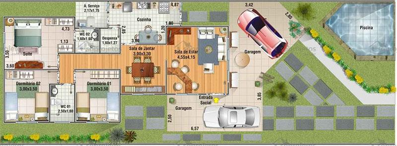 Planta de casa térrea 150 m2
