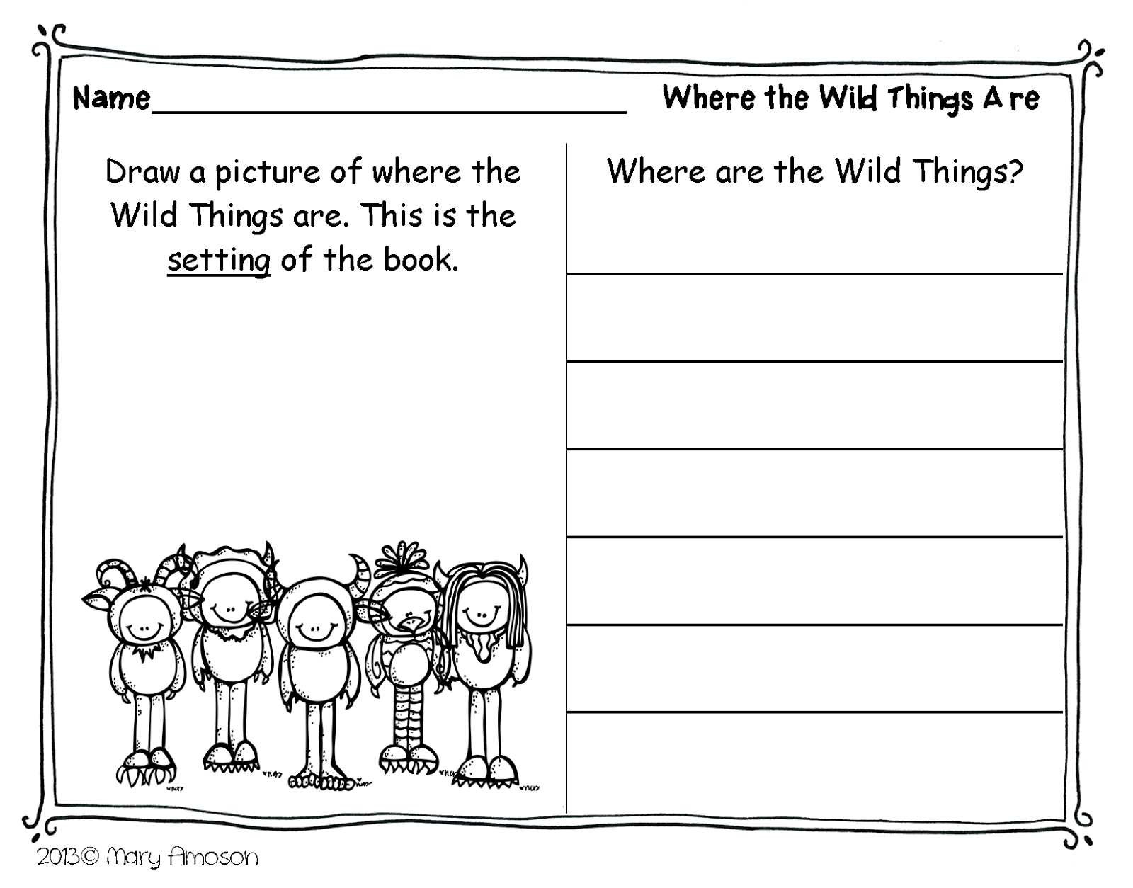 Where The Wild Things Are Worksheets And Activities - K5 Worksheets