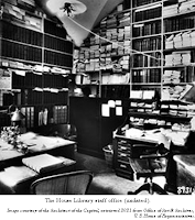 The House Library staff office (undated). Image courtesy of the Architect of the Capitol, retrieved 2021 from Office of Art & Archives,  U. S. House of Representatives.