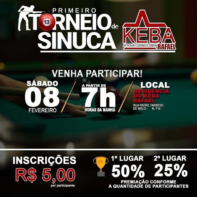 Torneio de Sinuca Kêba Rafael acontece neste sábado, 8 de fevereiro. Participe!