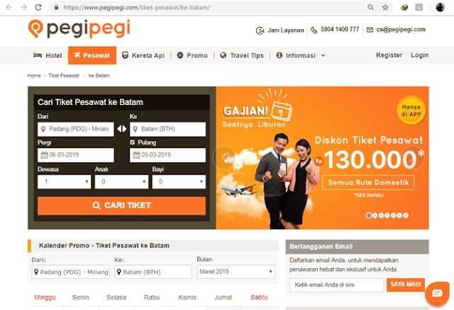 Tampilan website Pegipegi.com
