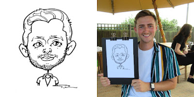 A caricature portrait and a photo with the smiling male model.