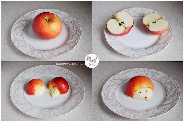 Делаем ёжиков из яблок