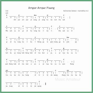 partitur not angka lagu ampar ampar pisang lagu daerah kalimantan selatan