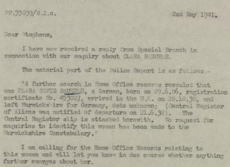 May 2, 1941 - KV 2/25 - 75a - MI5 to Camp 020 re: Special Branch report.