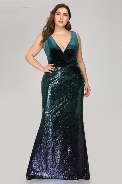 green ombre seuqins mermaid prom dress