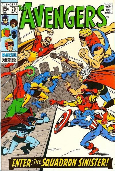 Avengers #70, the Squadron Sinister, Sal Buscema cover