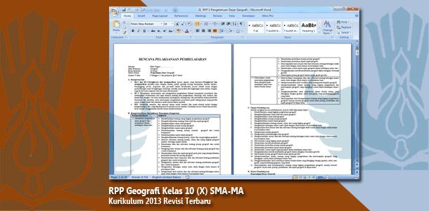 RPP Geografi Kelas 10 (X) SMA-MA Kurikulum 2013 Revisi Terbaru Tahun 2019-2020