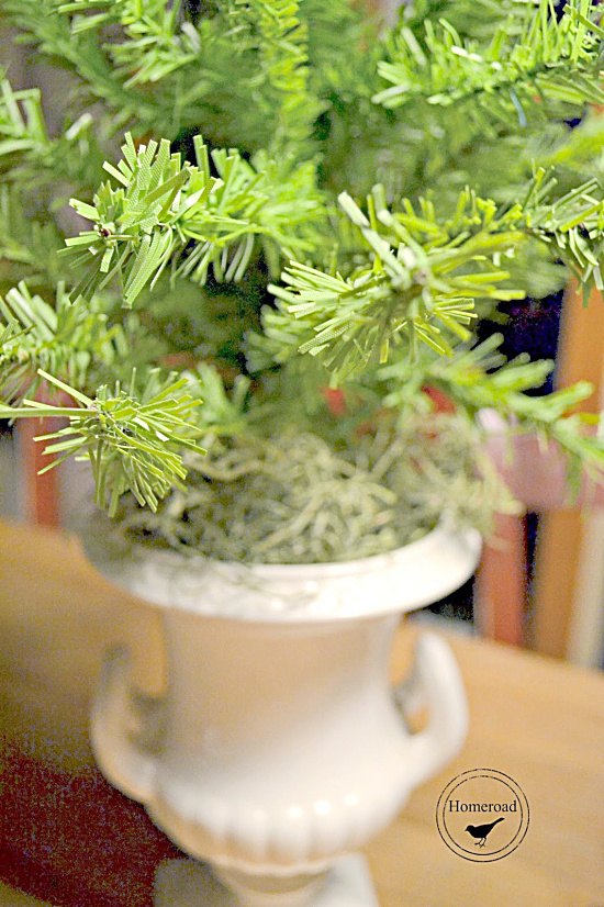 dollar store tree in a white urn