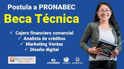 Postula a una Beca Técnica estudia para Cajero Analista de créditos Marketing Diseño digital