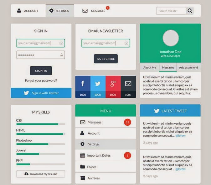 Free Web User Interface Design Kit PSD