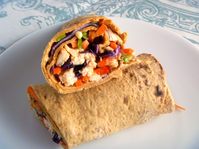Crazy good Chinese Chicken Salad is wrapped up in a soft flatbread to make one heck of a wrap that is the perfect solution to a workday or weekend lunch - Slice of Southern
