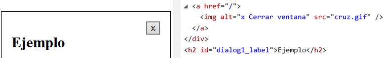 Ventana modal con una X como botón de cerrar. En el código de ve que la X es una imagen con el texto del atributo alt igual a x cerrar ventana