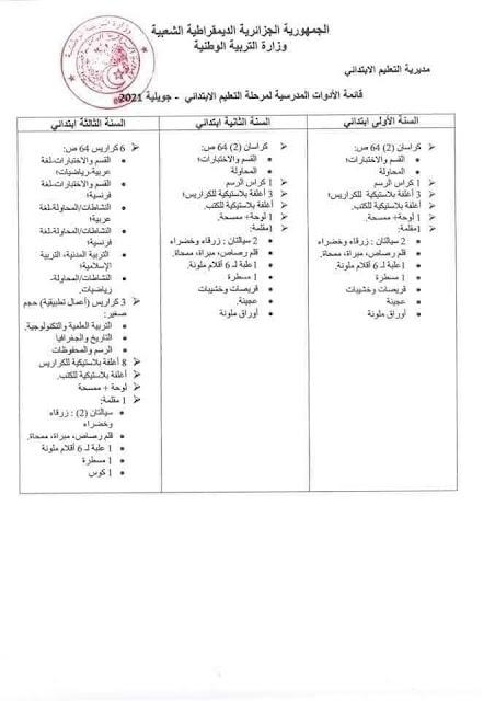 قائمة الادوات المدرسية الرسمية للسنة الاولى ابتدائي 2021-2022