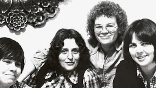"""(L-R) Adrienne Potts, Pat Murphy, Sue Wells and Heather Byers were accused of instigating a """"lesbian riot"""" in 1974 in Toronto pub the Brunswick House"""