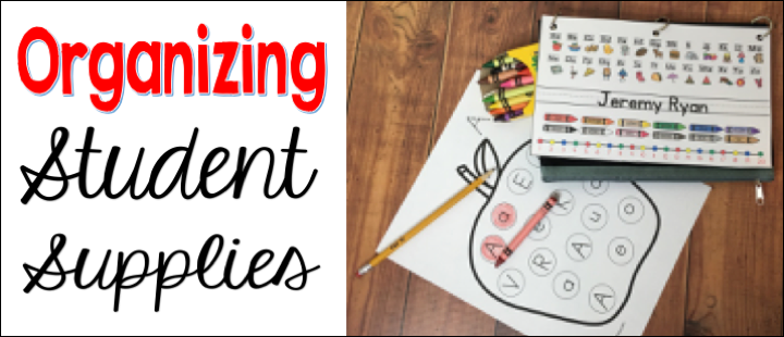 organizing student supplies in the classroom.  Classroom caddies, pencil boxes or pencil pouches