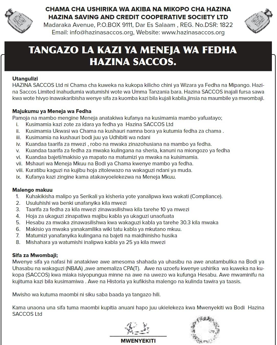 MENEJA WA FEDHA AT HAZINA SACCOS January 2021