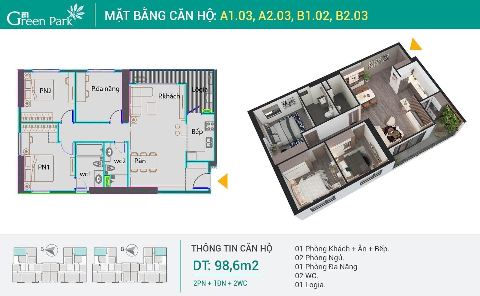 Thiết kế căn 3 phòng ngủ dự án Phương Đông Green Park