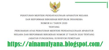 Tentang Jabatan Fungsional Surveyor Pemetaan PERMENPAN RB NOMOR 61 TAHUN 2020 TENTANG JABATAN FUNGSIONAL SURVEYOR PEMETAAN