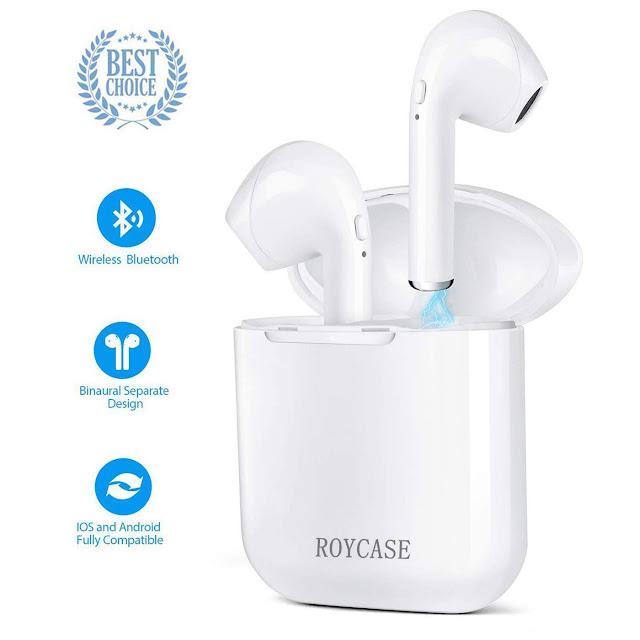 roycase Wireless Bluetooth Headset, In-Ear-Kopfhörer kabellose Headsets Stereo-Mini-Kopfhörer wasserdicht Geräuschunterdrückung mit Ladekoffer und eingebautem Mikrofon Preis