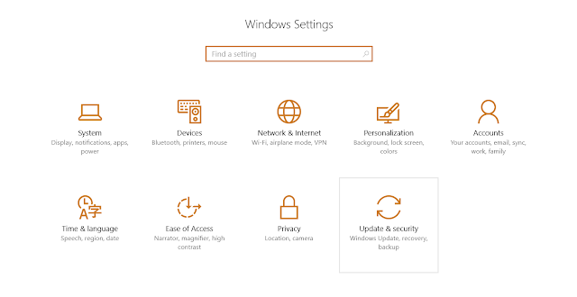 Windows 10 Update & Security, Restore options