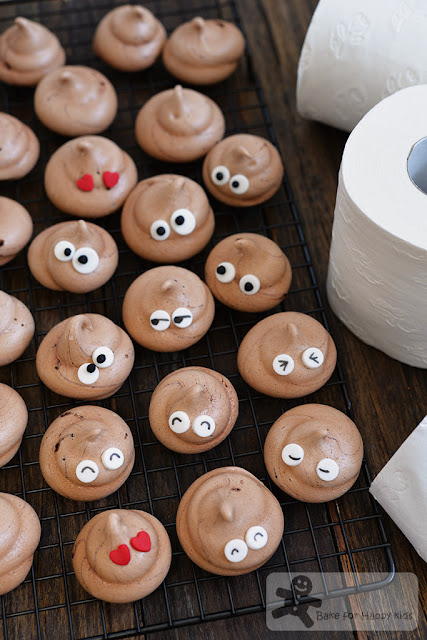 chocolate poo emoji meringues