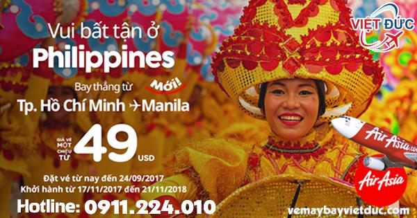 Air Asia mở bán đường bay HCM thẳng tới Manila chỉ từ 49 usd