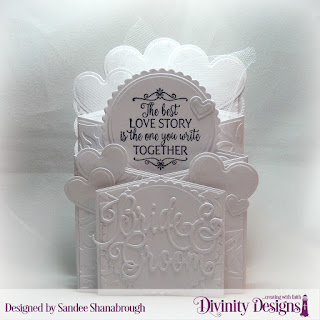 Divinity Designs Stamp Set: Happily Ever After, Custom Dies: Cascade Fold Card with Layers, Circles, Scalloped Circles, Bride & Groom, Layering Hearts, Embossing Folder: Flourishes