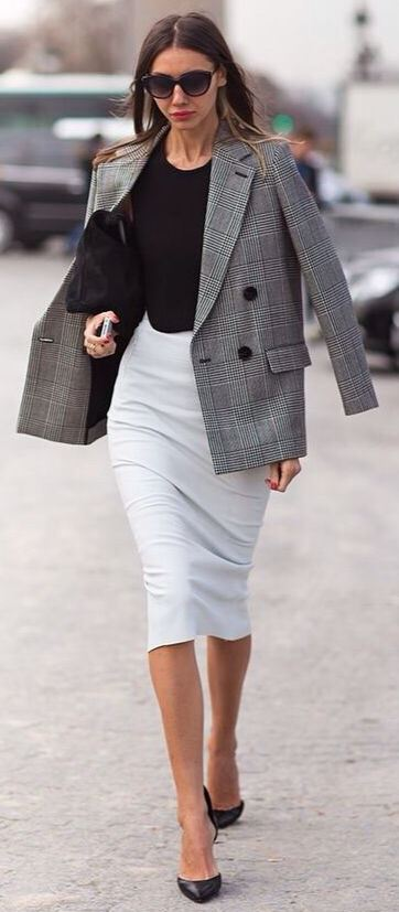 office style perfection : white pencil skirt + plaid blazer + top + bag + heels