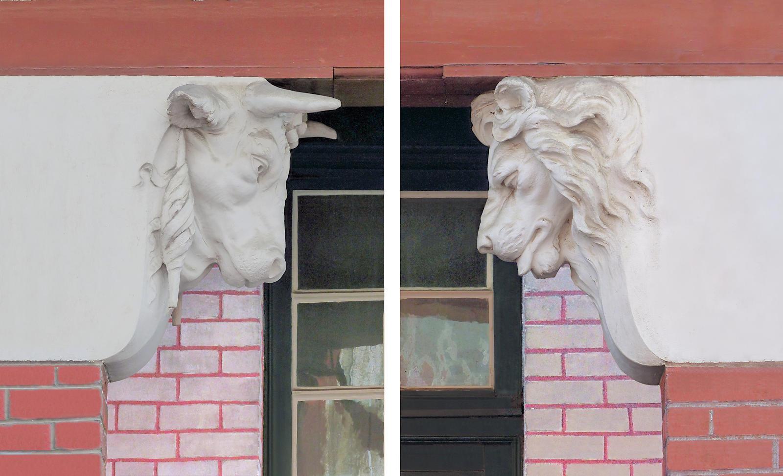 Sculptures de la tête de taureau et de lion - Maison du Broutteux, Tourcoing.