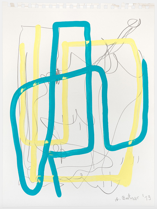André Butzer untitled, 2019 Acrylic and pencil on paper 37.1 × 28.7 cm