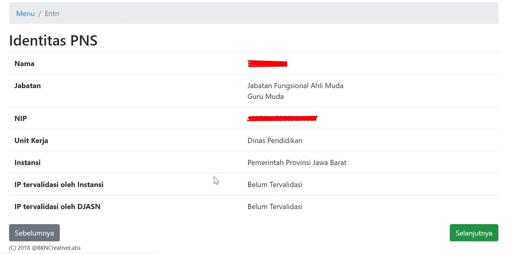 data identitas PNS di IP JASN BKN