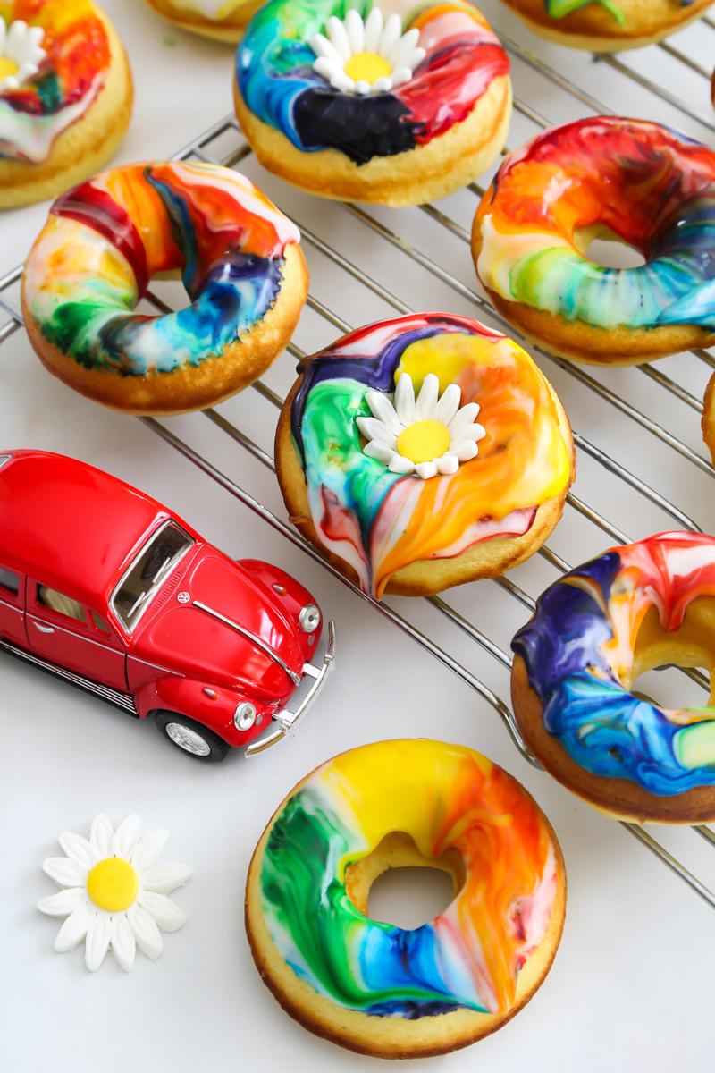 Lemon Tie Dye Doughnuts