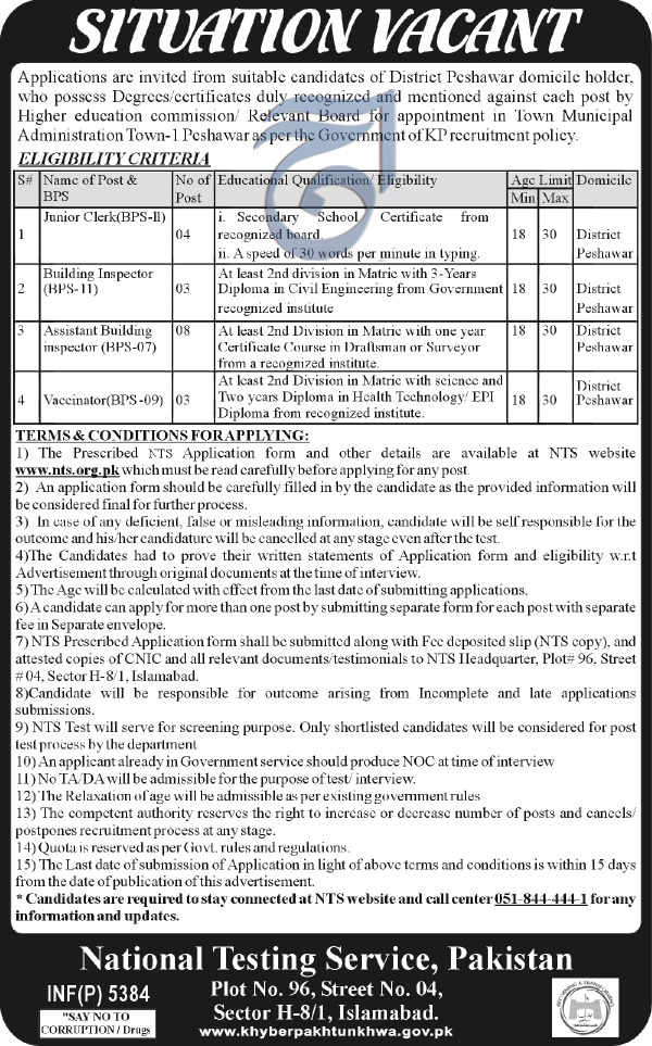 jobs in Town Municipal Administration H/8 Islamabad