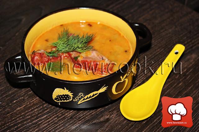как приготовить Гороховый суп с копчеными ребрышками