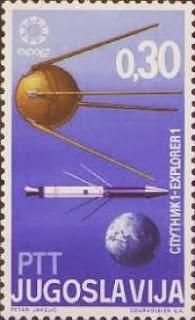 Un francobollo delle poste yugoslave mostra l'Explorer e lo Sputnik insieme.