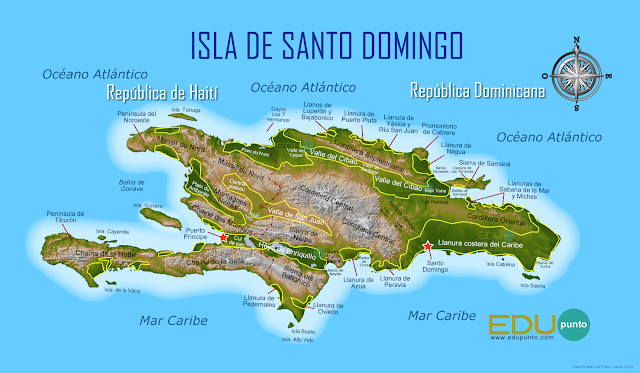 isla, Santo Domingo, relieve, montañas, valles, peninsulas, bahias