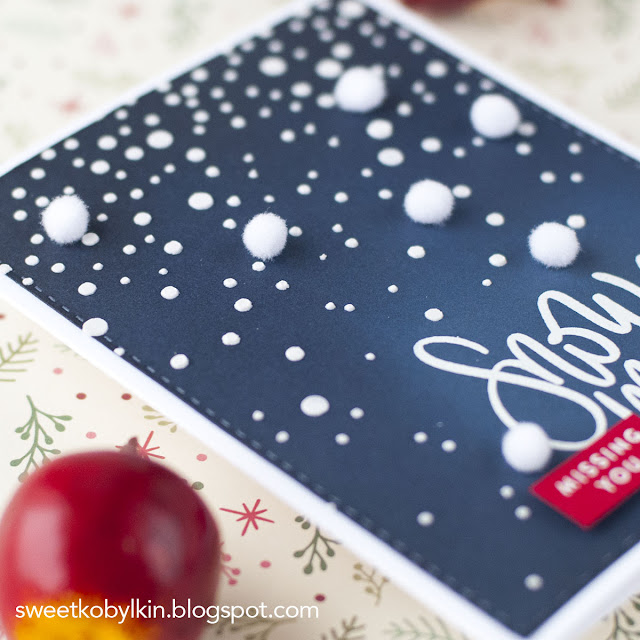 Blue Ombre Winter Card with Pom Poms