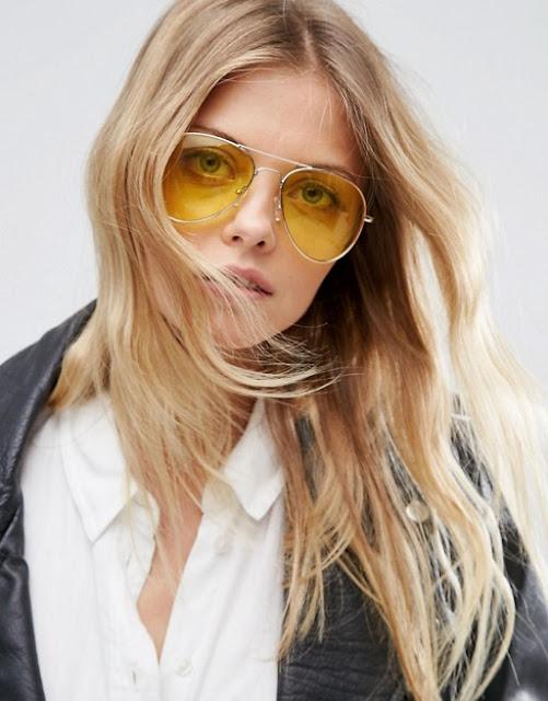 نظارة الشمس بعدسات صفراء اللون